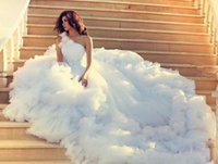 Wholesale one shoulder beach dress - Luxury One Shoulder Wedding Dresses 2016 Chapel Train Tiered Ruffles Princess Wedding Gowns Beaded White Tulle Modest Bridal Dress