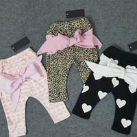 Wholesale Leopard Prints Kids Fashion - 2016 Spring Fashion Boy Girl Pants Children Kids cotton leopard love heart geometric print bow harem pants 1-4Y 1777