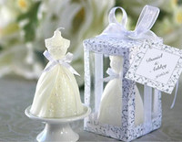 Wholesale Candle Souvenirs Birthday - wedding dress candle favor gifts party favor wedding gifts for guest wedding souvenirs birthday gifts free shipping 30pcs lot