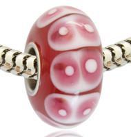 tubos de cuentas de vidrio al por mayor-Venta al por mayor al por menor de la nueva llegada del tubo plateado rosado del mal de ojo Lampwork Glass Murano Glass Charm Bead para Pandora pulsera