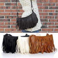 Wholesale Womens Fringe Tassel Brown Handbag - Wholesale-Womens Tassle Tassel Fringe Faux Suede Shoulder Messenger Crossbody Bag Handbag Purse Black Brown White L09014