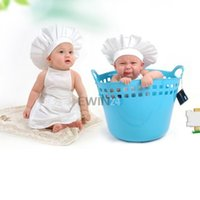 Wholesale Hat Cooks - Hot Selling! Cute Baby Cook Hat + Aprons White Infant Newborn Cook Costume Photography Prop Free Shipping