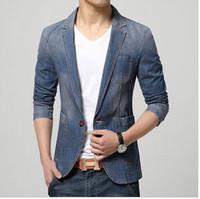 Wholesale Cowboy Clothes For Men - Men's Casual Slim Fit Denim Blazer Coat Jacket Suits for Men Man Spring Cowboy Suit Petite single button Clothing hight qualit Free shipping