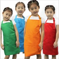 Wholesale art aprons - new Kids Aprons Pocket Craft Cooking Baking Art Painting Kids Kitchen Dining Bib Children Aprons Kids Aprons colors
