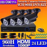Wholesale Dvr Mobile Surveillance 4ch - Home 4CH Full 960H HDMI 1080P H.264 DVR Kit indoor outdoor 700TVL IR CCTV Camera System Netowrk Mobile Surveillance system