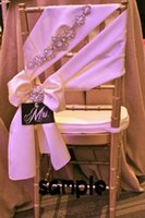 Wholesale Luxurious Jacquard - 2015 Blush Pink Chair Sashes Romantic Crystals Taffeta Chair Covers Luxurious Wedding Decorations Noble Wedding Accessories