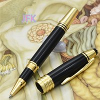 Wholesale Office Clip Art - Luxury John JFK series Gold Clip Roller ball pen with high quailty stationery school office supplies MB brand writing ballpoint pen gifts