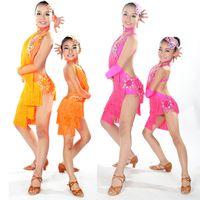 Wholesale Tassel Dance Dresses For Kids - Child Latin Dance Dresses For Sale 6 Colors Cha Cha Rumba Samba Ballroom Tango Dance Clothing Kids Dance Costume Girls Dancewear DQ4056
