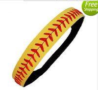 Wholesale Yellow Leather Softball Headbands - new arrival 2015 Yellow leather fastpitch softball headbands