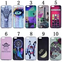 Wholesale 4s Eiffel - Cartoon Tooth Dreamcatcher Crown Skull Flower Eiffel Tower Hard PC Phone Case For Iphone 6 6S Plus 5 5S 5C 4 4S Telephone Deer Skin Cover