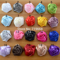 Wholesale Satin Rosette Headbands - 5cm 60pcs lot 20colors Satin Rolled Fabric Rosette Rose Flower for Baby Girl Children Hair Flowers Headband Hairband Accessories