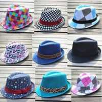 Wholesale Canvas Kids Fedora - Unisex Casual Children's Fedora Hats & Caps Baby Hat Trilby Kids Canvas Top Hat Boys Girls Fedoras Summer Sun Hat for 2-9 years Old