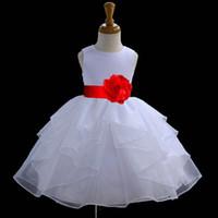 faja de pascua al por mayor-Vestido de niña de las flores blancas Tie Sash Desfile nupcial de boda nupcial Niños Tulle Dama de honor Niño de Pascua de cumpleaños Vestido de halloween