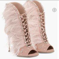 botas de penas rosa venda por atacado-2017 mulheres da moda tornozelo botas peep toe botas de salto alto botas de diamante botas de boliche cor rosa botas sapatos de festa mulheres botas de penas