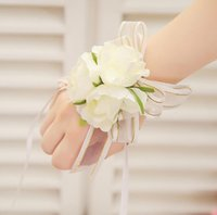 Wholesale Wholesale Wedding Corsage Supplies - Wedding Banquet Party Supplies Bridal bridesmaid flower wrist corsage wrist flower high quality foam headdress flower BF03