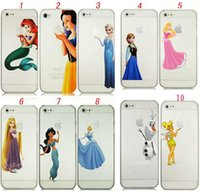 Wholesale Iphone 4s Case Princess - For iPhone 4S 5S 5C 6 6 plus Frozen frost Princess Snow White Elsa Olaf Ariel Tinkerbell Little Mermaid Ariel Hard PC Clear crystal case