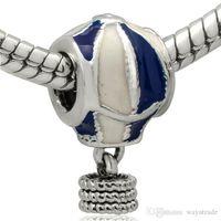 Wholesale Snake Balloons - New! Wholesale Air Balloon Enamel Pendant Charm 925 Sterling Silver European Charms Beads Fit diy Snake Chain Bracelet Women Jewelry