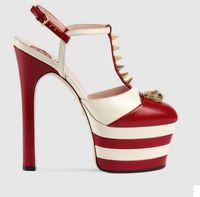 sandalias de tacón a rayas al por mayor-Plataforma del nuevo verano de pinchos Gladiador mujeres de las sandalias de rayas metálico tacones altos bombea los zapatos de boda Escarpins Damas Prom Mary Jane Shoes