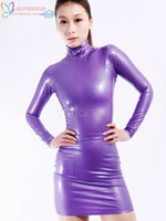 Wholesale Latex Collar - Wholesale-High Quality Halloween Carnival Party Purple Stand Collar Long Sleeves Unisex Latex Dress Zentai Suit