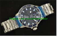 Wholesale Transparent Digital Watch - New Brand New Hot Steel Diver Stainless steel Bracelet Mens Automatic Watch Blue Dial Men's Sports Wrist Watches Transparent Back
