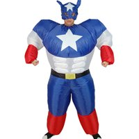 Wholesale Inflatable Superman - Adult holiday party inflatable superman costume captain America and cover for masquerade party entertainment clothes, free shipp