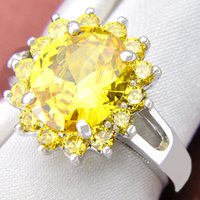 Wholesale fire citrine - 5 Pieces 1 lot Lucky Shine Friend Gift Dazzling Full Fire Citrine Crystal 925 Sterling Silver Rings Russia American Australia Wedding Rings
