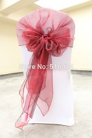 Wholesale Wholesale Chair Hood Ties - Wholesale-Burgundy chair cover hood wrap tie back sash bow