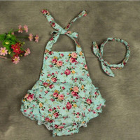 Wholesale Summer Kids Romper Set - 2016 NEW baby girl kids toddler sets Little floral romper onesies Cotton Lace Camisole Leotard pants tutu dress Summer Clothes + headwrap 6