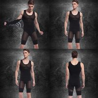 Wholesale Mens Body Shapers - Mens Spandex Bodysuits (Vest+Pants) Hot Slimming Corset Waist And Butt Shapers Male Training Belts Body Girdles Underwear d2526