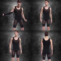 Wholesale men bodysuits - Mens Spandex Bodysuits (Vest+Pants) Hot Slimming Corset Waist And Butt Shapers Male Training Belts Body Girdles Underwear d2526