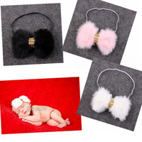 Wholesale Elegant Hair Bows - New Baby Rabbit Fur bow Headband for Infant Girl Hair Accessories Elegant FUR bows clip hair band Newborn Photography Prop YM6105
