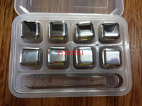 Wholesale Whisky Whiskey Stones - 1set lot Free Shipping Stainless Steel Whisky Stones Ice Cubes Glacier Cooler Stone Whiskey Rocks 8pc ice cube +1pcs clip