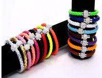 Wholesale Shambhala Rhinestone Charms - New 16 colors MIC Shambhala Weave Leather Czech Crystal Rhinestone Cuff Clay Magnetic Clasp Bracelets Bangle