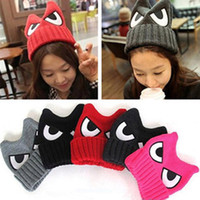 Wholesale Cute Warm Women Trappers Hats - Wholesale-New Women Fashion Autumn Winter College Style Cute Big Eyes Embroidery Devil Horns Hat Wollen Knitting Warm Hats HT-0151