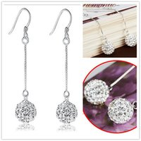 HQ 925 Sterling Silver Plated 10MM / 8MM Shambala Ball Long Chain Earrings Diamante Crystal Disco Beads Brincos para mulheres Girl EH030