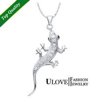Wholesale Lizard Necklace Jewelry - New 2015 Trendy Sterling Silver Necklaces & Pendants Women Men Jewelry Sexy Pendant Wall Lizard Animal Necklaces Pendants N1012