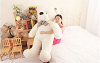Wholesale Big Huge Cute - Wholesale-New Hot 100CM Teddy Bear White Giant Big Cute Plush 100% Cotton Huge Soft Toy Gift#53443