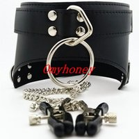 Wholesale Luxury Chastity Belts For Women - new luxury PVC bondage Female black collar with nipple clamps ,black nipple toys, sex toys for women, chastity devices belt, SM313C