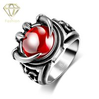 Wholesale Men Ring Design Stone - New Punk Design Red Stone in Claw 316L Stainless Steel Rings Silver Color Jewelry for Men Bestfriend Gift