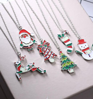 Wholesale painting oil woman animal for sale - Group buy DHL Christmas Santa Claus Necklaces Painting Oil Deer Tree Stickers Pendant Alloy Link Chain Sweater Necklace Jewelry Gifts for Women Men