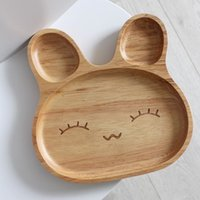eClouds New Dinner Tray Cartoon Rabbit Placa de comida de madeira para Fruit Snack Crianças Baby Bowl Japanese Lunch Box