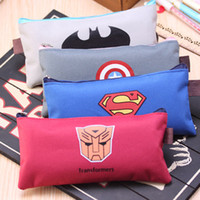 Wholesale cartoon storage boxes - Schools & Offices Cases School Supplies Case Cartoon Zipper Pencils Box Superman Stationery Bag Storage Pencil Cases