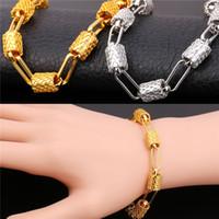 neue design platinkette großhandel-U7 Neue Design Gliederkette Armband Trendy Platin / 18 Karat Reales Gold Überzogene Modeschmuck 2 Farben Perfektes Geschenk Für Frauen