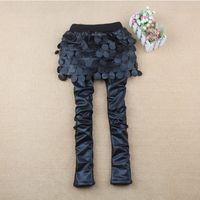 Wholesale Girls Leather Pants For Kids - Europe and America Little Girls Skinny Pants Fashion Black Joker Kids Pantskirt Autumn Winter Thicken chaparajos For Children 90-130 K249