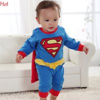 Wholesale Long Sleeve Smock - Baby Boy Romper Superman Long Sleeve with Smock Halloween Christmas Costume Gift Boys Rompers Spring Autumn Clothing Pajama Blue SV000172
