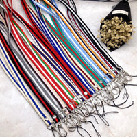 Wholesale Stripe Lanyard - Hot Sale Colorful Lanyard With Metal Buckle Stripe Cell Phone Lanyards ID Pass Card Badge Neck Straps Green 1 15mc B