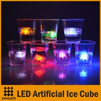 Wholesale Red Ice Cubes - Mini Romantic Luminous Cube LED Artificial Ice Cube Party Wedding Decoration Green Red White Blue Yellow Rainbow Mixed Color