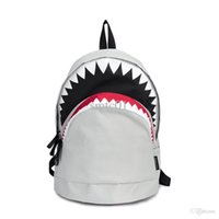 Wholesale Small Animals Backpack - Wholesale-Big Shark Backpack nylon fashion white and Black backpacks Mochilas