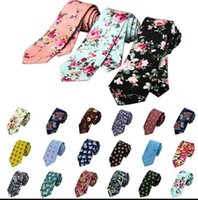 Wholesale Cotton Wedding Flowers - Cotton Necktie Floral Print Necktie For Men Cotton Slim Ties Wedding Party Flower Neckwear Skinny Ties Casual Skinny Necktie KKA3313