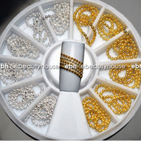 Wholesale Silver Alloy 3d Nail Art - Wholesale-12 PCS Gold Silver 3D Nail Art Alloy Beads Chain DIY Decoration Stamping+ Wheel NA693